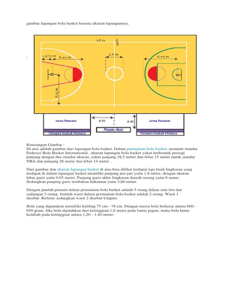 Gambar Lapangan Bola Basket Beserta Ukuran Lapangannya Docx