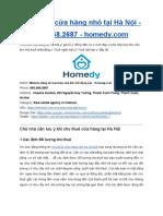 Cho Thuê Cửa Hàng Nhỏ Tại Hà Nội - Homedy.com - 093.268.2687