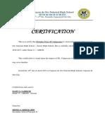 Certification Bonafide