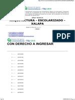 Resultados UV Arquitectura Xalapa 2018