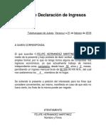 Carta de Declaración de Ingresos