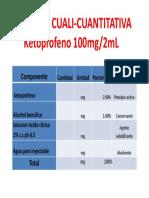 Fórmula Cuali-cuantitativa Ketoprofeno 100mg