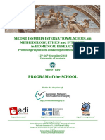SECOND INSUBRIA INTERNATIONAL SCHOOL on METHODOLOGY, ETHICS and INTEGRITY in BIOMEDICAL RESEARCH - PROGRAM of the SCHOOL