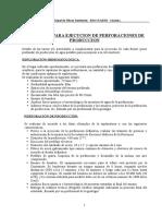Pozos Producción. Especificaciones Técnicas y Obras Complementarias