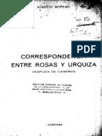Correspondencia entre Rosas y Urquiza después de Caseros - Moreno, Alberto