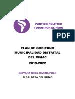 Plan de Gobierno de Todos Por El Perú-Rimac