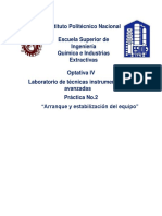 Práctica No.2  Arranque y estabilización del equipo Espectrometro de masas ESIQIE