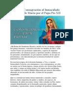 Acto de Consagración Al Inmaculado Corazón de María Por El Papa Pio XII