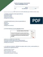 Evaluación de Lenguaje y Comunicación - Textos Argumentativos