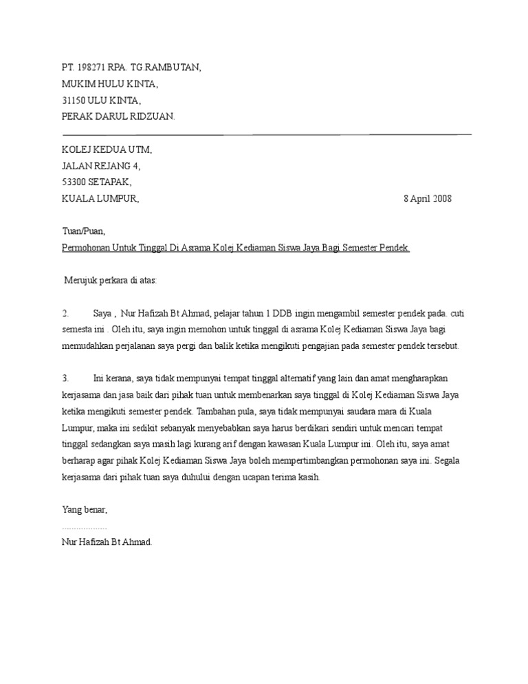 Contoh Surat Rasmi Rayuan Tinggal Di Asrama - Rasmi O