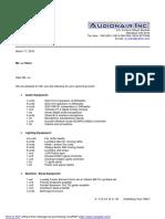 AUDIONAIR Rate Proposal