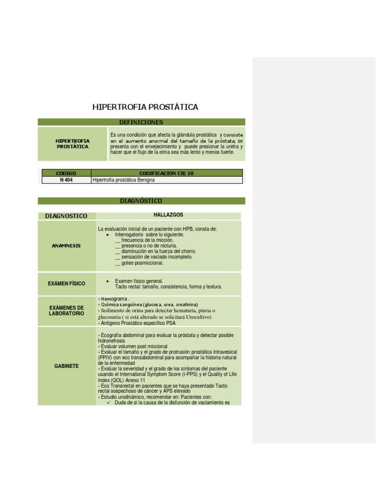 hipertrofia prostatica tenore 1 cie 10