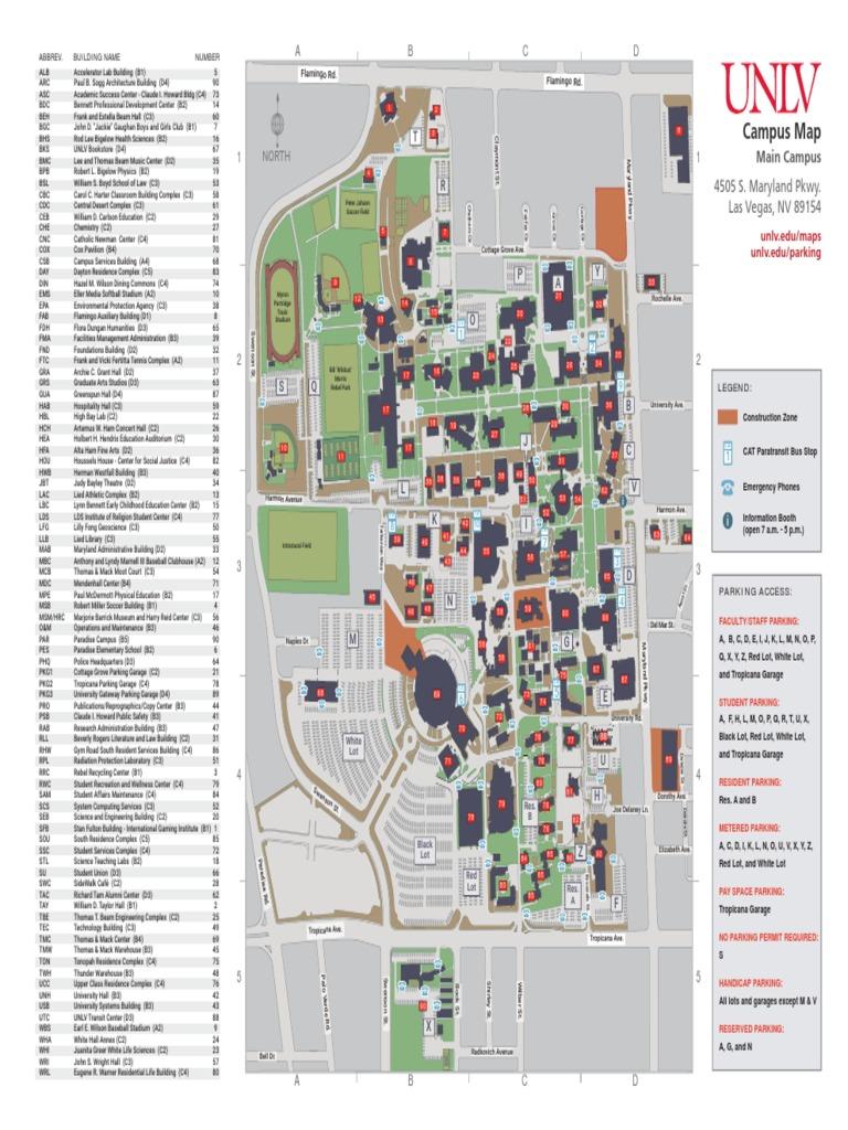 unlv maps of campus Unlv Map Main unlv maps of campus