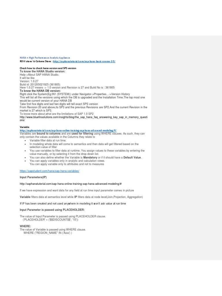 HANA IQs | Parameter (Computer Programming) | Databases