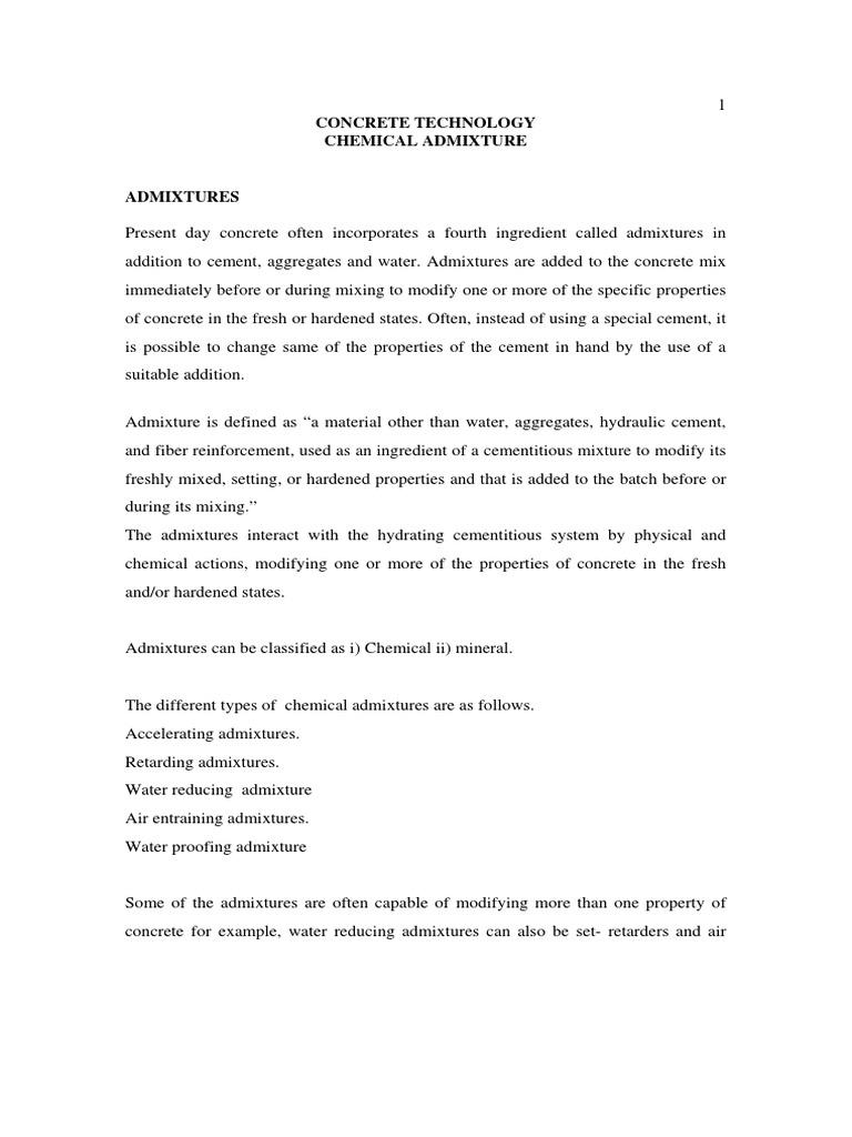 chemical admixture pdf | Concrete | Cement