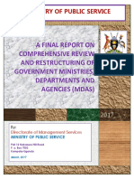 Report on comprehensive review and restructuring of government ministries, departments and agencies