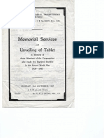 memorial services   unveiling of tablet 12 oct 1947