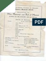 war memorial   roll of honour 30 jan 1921