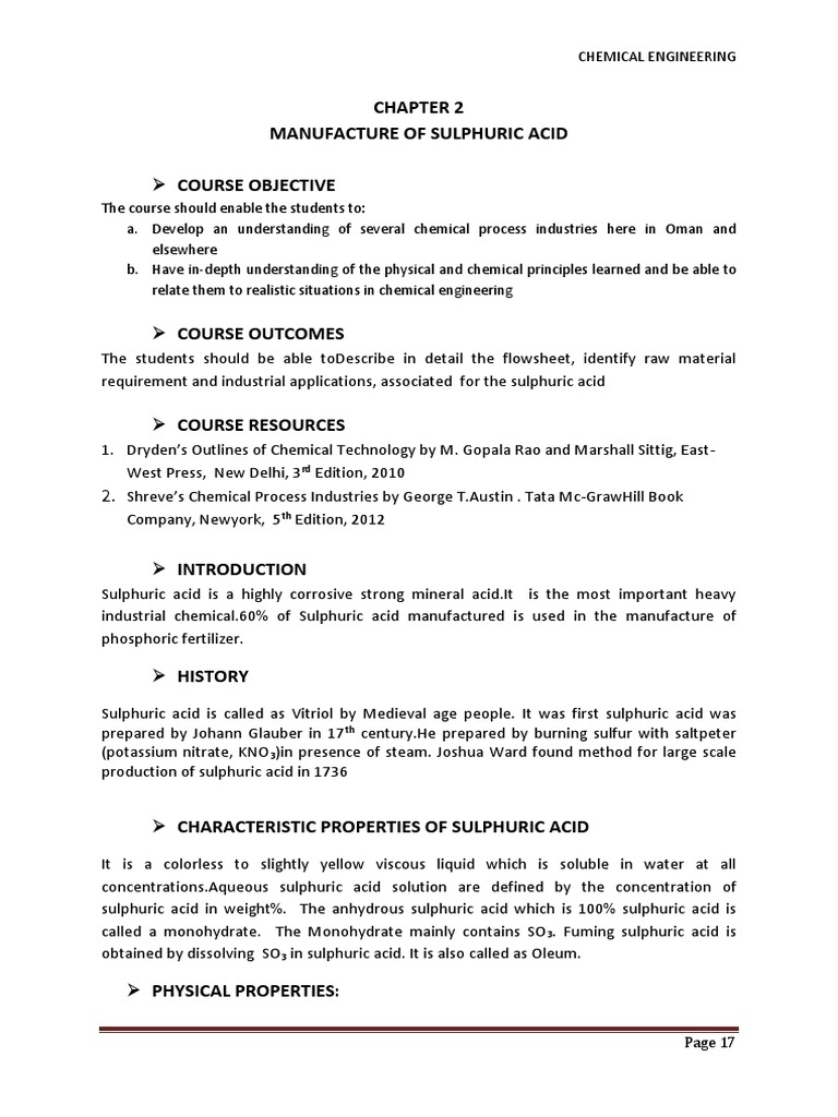 Chapter 2sulphuric Acid Manufacture Sept 2014 | Sulfuric Acid