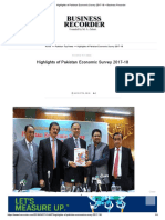 Highlights of Pakistan Economic Survey 2017-18 – Business Recorder