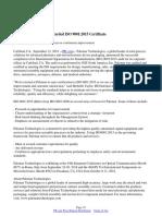 Palomar Technologies Awarded ISO 9001:2015 Certificate