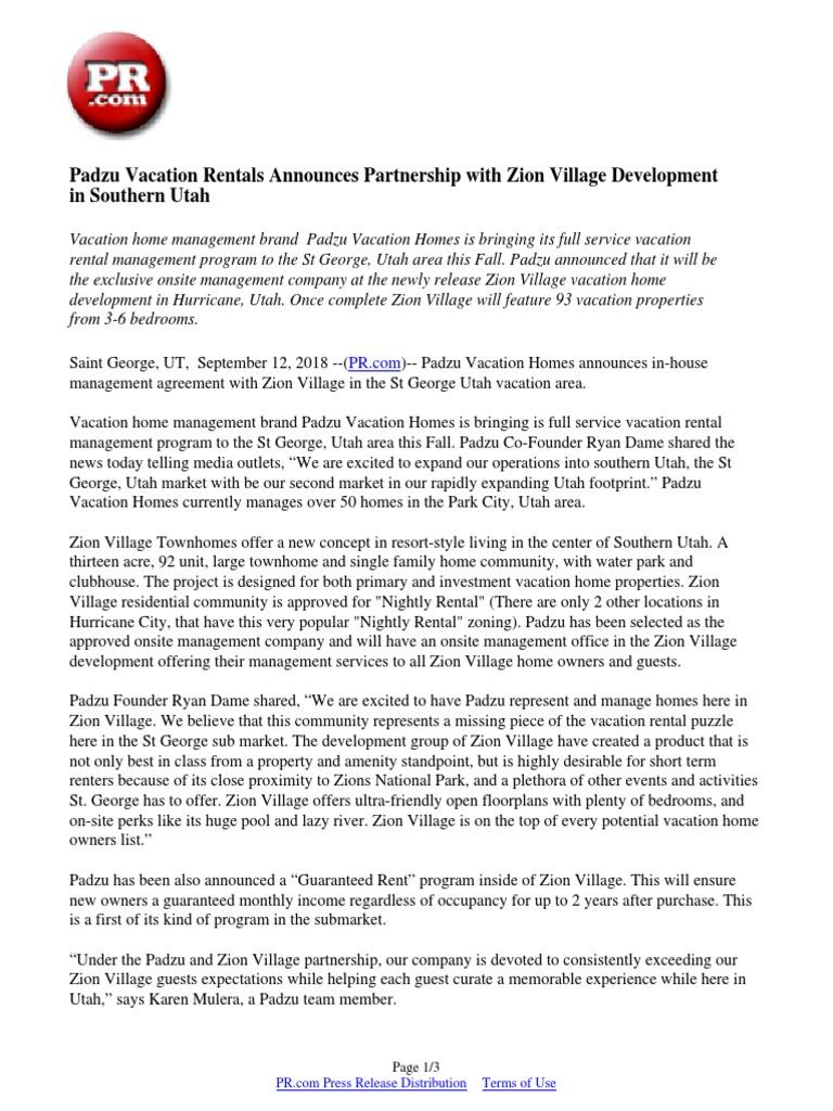 Padzu Vacation Rentals Announces Partnership With Zion Village