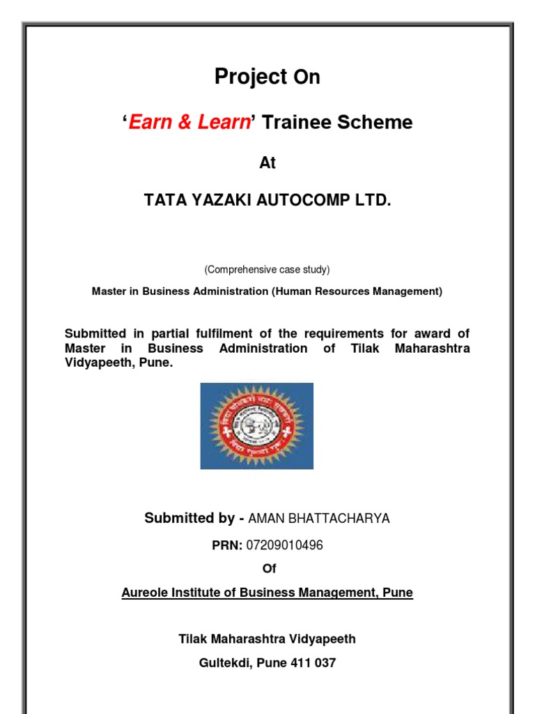 MBA Project Report On 'Earn And Learn' Trainee Scheme At