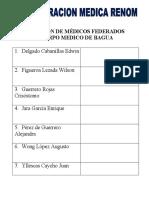 RELACIÓN DE MÉDICOS FEDERADOS JAEN BAGUA CHACHAPOYAS