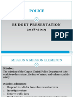 Presentation - Police Department Budget FY 2018-2019