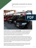 12/Septiembre/2018 Plantean en el Senado facilitar la importación de vehículos usados extranjeros