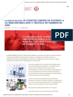 Clasificación de Cuartos Limpios de Acuerdo a La Nom-059-Ssa1-2015 y Cálculo de Cambios de Aire Air Quality de México