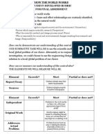 how the world works- student directed summative assessment rubric