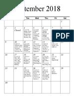 Preschool Schedule September
