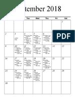 Senior Schedule September October