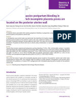 1.Risk Factors for Massive Postpartum Bleeding in Pregnancies in Which Incomplete Placenta Previa Are Located on the Posterior Uterine Wall