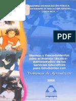 Normas y Procedimientos para el manejo técnico administrativo de los Servicios Educativos para estudiantes  con Problemas de Aprendizaje
