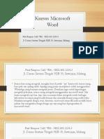Kursus Microsoft Word Untuk Dasar, Fast Respon Call/ WA
