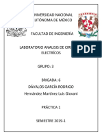 Practica 1 de Analisis de Circuitos Electricos..
