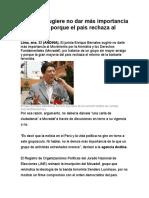 Bernales Sugiere No Dar Más Importancia Al Movadef Porque El País Rechaza Al Terrorismo