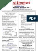 Newsletter October 5 2010