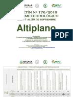 BOLETÍN Nº 176-2018 AGROMETEOROLÓGICO del 11 al 20 de Septiembre-Altiplano