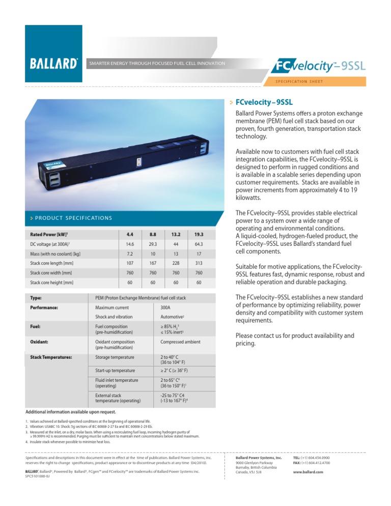 Fcvelocity 9ssl Spc5101006 0j | Fuel Cell | Energy Technology