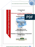 A Project Report on Effectiveness of Layalty Program in Readymade Garment Retailing