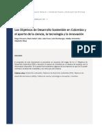 Los Objetivos de Desarrollo Sostenible en Colombia y El Aporte de La Ciencia, La Tecnología y La Innovación