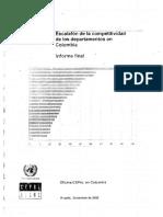 Escalafón de La Competitividad de Los Departamentos en Colombia; Informe Final