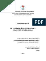 Experimento II - Determinação Da Constante Elástica de Uma Mola