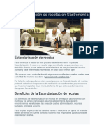 Estandarización de Recetas en Gastronomía