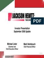 JTX Sept 2006 Jackson Hewitt Tax Service Presentation