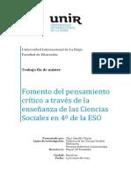 Fomento Del Pensamiento Critico a Trave Sde La Enseñanza de Las Ciencias Sociales Tesis