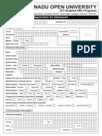 TNOU Admission Form ICT 2016